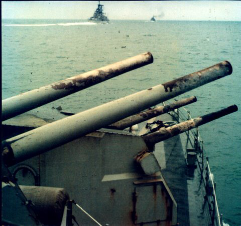 This is from DD786 - OKC ahead during actual firing mission in Haiphong Harbor. They shot back!