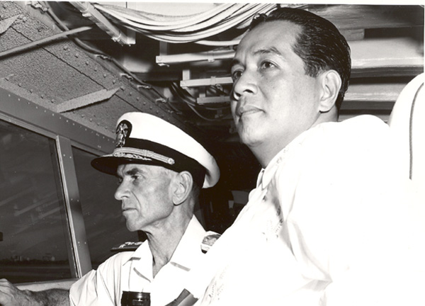 P.I. President Marcos on the bridge with Commander 7th Fleet 1962 (PH1 Nelson Archey)