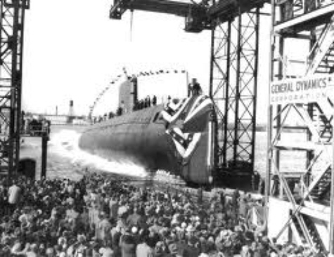 The USS Nautilus just after her Christening Ceremony