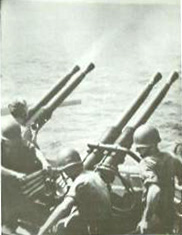 Quad 40mm anti-aitcraft guns firing away